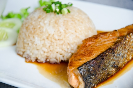 crispy grilled salmon steak with rice  Stock Photo - 15209446