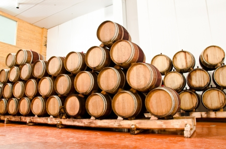 Wine keg barrels stacked keep cool  photo