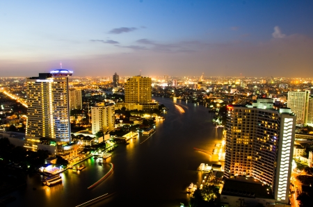 crowded space: Bangkok City in twilight, Thailand.