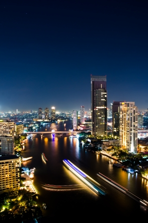 City center of Bangkok Thailand at night. photo