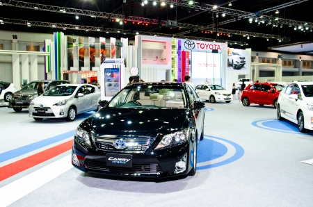 NONTHABURI - NOVEMBER 28: Toyota Camry Hybrid car on display at The 29th Thailand International Motor Expo  on November 28, 2012 in Nonthaburi, Thailand.
