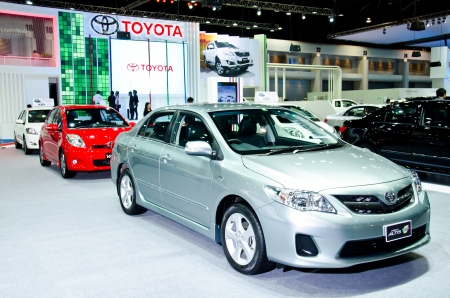 NONTHABURI - NOVEMBER 28: Toyota Corolla Altis car on display at The 29th Thailand International Motor Expo  on November 28, 2012 in Nonthaburi, Thailand