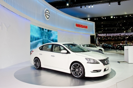NONTHABURI - NOVEMBER 28: Nissan Sylphy car on display at The 29th Thailand International Motor Expo  on November 28, 2012 in Nonthaburi, Thailand. Editorial