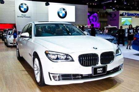 NONTHABURI - NOVEMBER 28: BMW 740Li  car on display at The 29th Thailand International Motor Expo  on November 28, 2012 in Nonthaburi, Thailand.