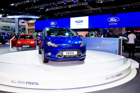 NONTHABURI - NOVEMBER 28: The Ford Fiesta car on display at The 29th Thailand International Motor Expo on November 28, 2012 in Nonthaburi, Thailand. Stock Photo - 16743859
