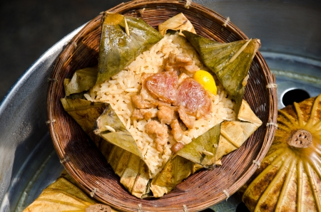 Rice wrapped in lotus leaf, Thai food