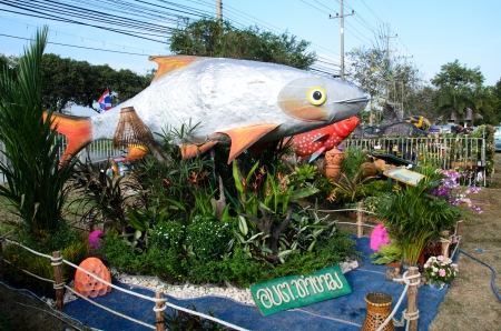 model fish: SINGBURI - DECEMBER 25: Fish Festival and one tombon one product (OTOP) of Sing Buris the 18th on December 25, 2012 in Singburi, Thailand.