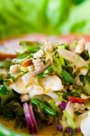 Winged bean in spicy coconut sauce salad, Thai food. Stock Photo - 17195853