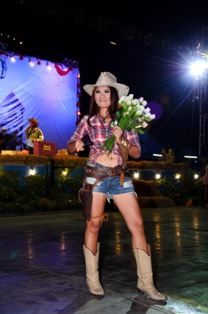 singburi: SINGBURI - JANUARY 2: Unidentified model display on Miss cowgirl contest of cowboy festival January 2, 2013 in Singburi, Thailand.