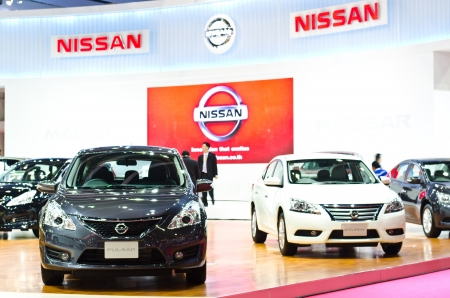 pulsar: BANGKOK - MARCH 26 : The Nissan Pulsar car on display at The 34th Bangkok International Motor Show 2013 on March 26, 2013 in Bangkok, Thailand. Editorial