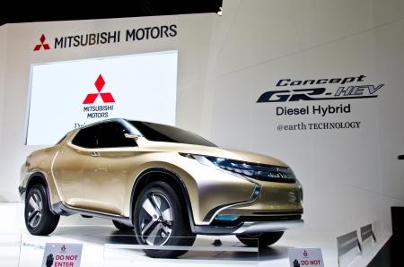 BANGKOK - MARCH 26 : The Mitsubishi Concept GR-HEV pickup on display at The 34th Bangkok International Motor Show 2013 on March 26, 2013 in Bangkok, Thailand. Stock Photo - 18777377