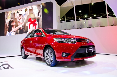 BANGKOK - MARCH 26 : The Toyota all new vios car on display at The 34th Bangkok International Motor Show 2013 on March 26, 2013 in Bangkok, Thailand.