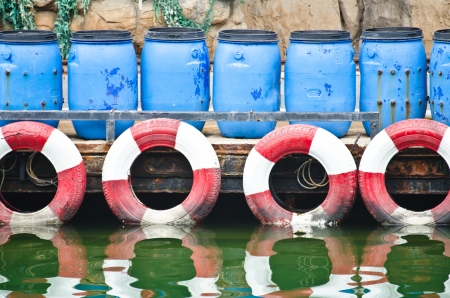 hazardous waste: Hazardous and Toxic Waste Barrels storing pollution in the harbor