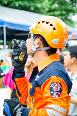 singburi: SINGBURI - JUNE 13 : Practicing fire protection plan and chemicals prepare for the officer about the Disaster Management on June 13, 2013 in Singburi, Thailand. Editorial