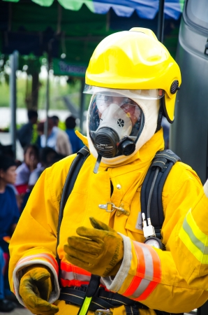 SINGBURI - JUNE 13 : Practicing fire protection plan and chemicals prepare for the officer about the Disaster Management on June 13, 2013 in Singburi, Thailand.
