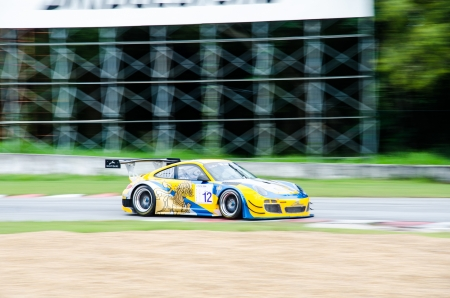 aas: CHOUN BURI - AUGUST 17  The Porsche 997 GT3R car of Singha-A Motorsport-Porsche AAS team on display at the Thailand Super Series 2013 Race 3 on August 17, 2013 at the Bira International Circuit, Thailand