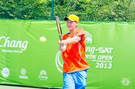 BANGKOK - AUGUST 24   Igor Barzasekov of Turkmenistan in qualifying singles in ATP Challenger Chang - SAT Bangkok Open 2013 form 24 August - 1 September, 2013 in Bangkok, Thailand