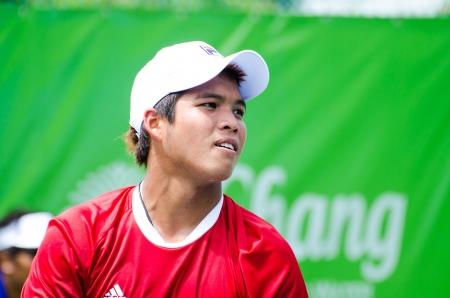 BANGKOK - AUGUST 24    Nattan Benjasupawan of Thailand in qualifying singles in ATP Challenger Chang - SAT Bangkok Open 2013 form 24 August - 1 September, 2013 in Bangkok, Thailand