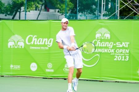 atp: BANGKOK - AUGUST 25    Tyler Hochwalt of American in qualifying singles in ATP Challenger Chang - SAT Bangkok Open 2013 form 24 August - 1 September, 2013 in Bangkok, Thailand