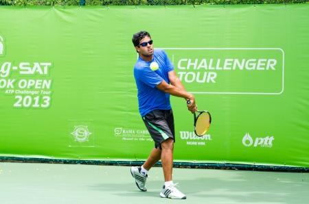 atp: BANGKOK - AUGUST 25    Abhijeet Tiwari of Indian in qualifying singles in ATP Challenger Chang - SAT Bangkok Open 2013 form 24 August - 1 September, 2013 in Bangkok, Thailand