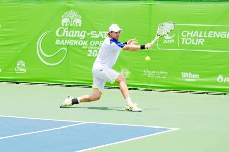 atp: BANGKOK - SEPTEMBER 1   Blaz Kavcic of Slovenia winner in ATP Challenger Chang - SAT Bangkok Open 2013 form 24 August - 1 September, 2013 in Bangkok, Thailand  Editorial