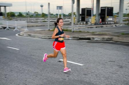 SUVARNABHUMI AIRPORT - SEPTEMBER 8  Unidentified marathon runner at Adidas King of the Road 2013 on September 8, 2013 in Suvarnabhumi Airport Samut Prakan, Thailand