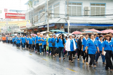 SINGBURI, THAILAND - SEPTEMBER 13 : Unidentified volunteer and officer is walking campaign to raise awareness outbreak of dengue fever on September 13, 2013 in Singburi, Thailand.