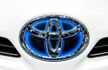 NONTHABURI - NOVEMBER 28 : Logo of Toyota Camry car on display at The 30th Thailand International Motor Expo on November 28, 2013 in Nonthaburi, Thailand.