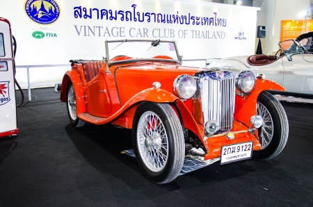 NONTHABURI - NOVEMBER 28 : MG TB car on display at The 30th Thailand International Motor Expo on November 28, 2013 in Nonthaburi, Thailand.