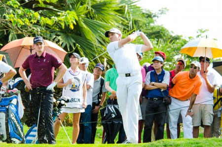 sergio: CHONBURI - DECEMBER 14 : Sergio Garcia of Spain is winners in Thailand Golf Championship 2013 at Amata Spring Country Club on December 14, 2013 in Chonburi, Thailand. Editorial