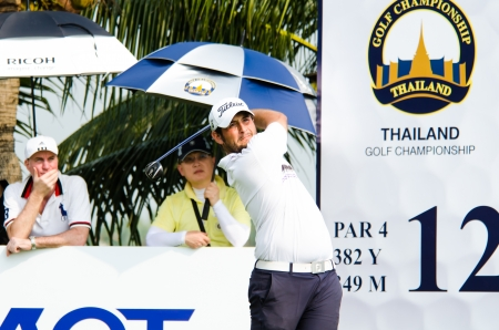 CHONBURI - DECEMBER 15 : Alexander Levy of France player in Thailand Golf Championship 2013 at Amata Spring Country Club on December 15, 2013 in Chonburi, Thailand. Editorial