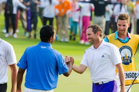 garcia: CHONBURI - DECEMBER 15 : Sergio Garcia of Spain is winners in Thailand Golf Championship 2013 at Amata Spring Country Club on December 15, 2013 in Chonburi, Thailand. Editorial