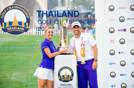 sergio: CHONBURI - DECEMBER 15 : Sergio Garcia of Spain is winners in Thailand Golf Championship 2013 at Amata Spring Country Club on December 15, 2013 in Chonburi, Thailand. Editorial