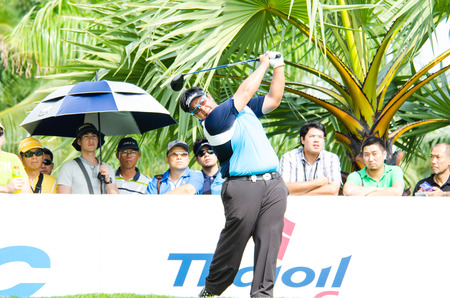 CHONBURI - DECEMBER 14 : Kiradech Aphibarnrat of Thailand player in Thailand Golf Championship 2013 at Amata Spring Country Club on December 14, 2013 in Chonburi, Thailand.