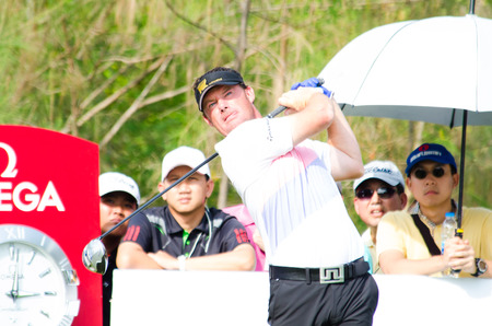 CHONBURI - DECEMBER 14 : Alex Cejka of Germany player in Thailand Golf Championship 2013 at Amata Spring Country Club on December 14, 2013 in Chonburi, Thailand. Editorial