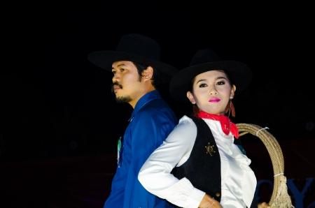singburi: SINGBURI - DECEMBER 30   Unidentified model portrait on display Cowboy Night contest of cowboy festival December 30, 2013 in Singburi, Thailand