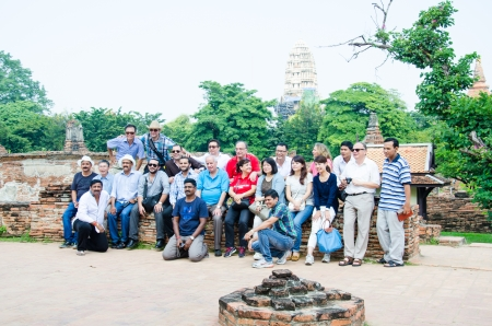 historic site: AYUTTHAYA, THAILAND - OCTOBER 24   Unidentified tourists to visit historic site, which has been established as a world heritage site  on October 24, 2013, Ayuttaya Thailand