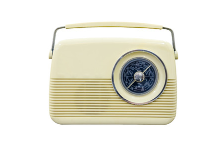 Antique radio on a white background photo