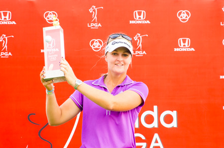 CHONBURI - FEBRUARY 23  Anna Nordqvist from Sweden winners Honda LPGA Thailand 2014 Siam Country Club, Pattaya Old Course on February 23, 2014 in Chonburi, Thailand
