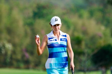 jennifer: CHONBURI - FEBRUARY 22  Jennifer Johnson golfer from USA in Honda LPGA Thailand 2014 at Siam Country Club, Pattaya Old Course on February 22, 2014 in Chonburi, Thailand