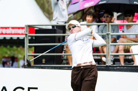 webb: CHONBURI - FEBRUARY 22  Karrie Webb golfer from Australia in Honda LPGA Thailand 2014 at Siam Country Club, Pattaya Old Course on February 22, 2014 in Chonburi, Thailand