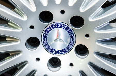 BANGKOK - MARCH 24: logo of Mercedes-Benz on  wheels in display at The 35th Bangkok International Motor Show on March 24, 2014 in Bangkok, Thailand.