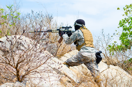 patrolling: Soldiers are patrolling to protect the stronghold