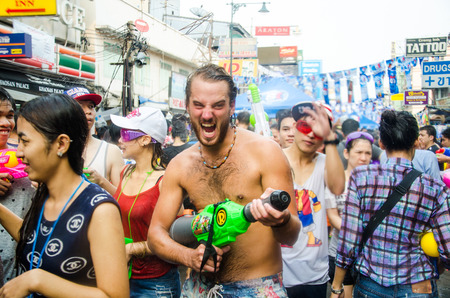 BANGKOK - APRIL 13  Songkran Festival is celebrated in Thailand as the traditional New Year