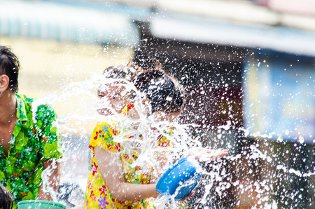LOPBURI - APRIL 14  Songkran Festival is celebrated in Thailand as the traditional New Year