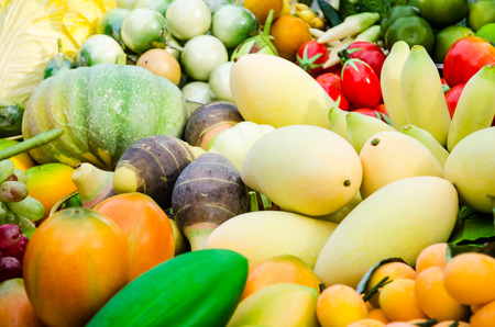 Fruits and vegetables in market photo