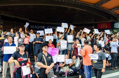 BANGKOK - MAY 24  People whom want democracy gathered at Major Cineplex Ratchayothin was against the military coup on May 24, 2014 in Bangkok, Thailand