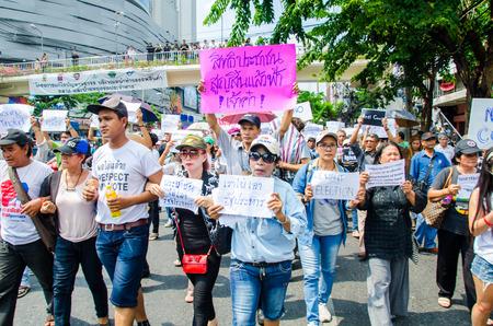 coup: BANGKOK - MAY 24  People whom want democracy gathered at Major Cineplex Ratchayothin was against the military coup on May 24, 2014 in Bangkok, Thailand