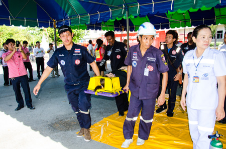 resuscitation department: SINGBURI - MAY 30   Practicing plan fire protection and control in buildings prepare for the officer about the Disaster Management on May 30, 2014 in Singburi, Thailand