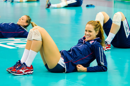 BANGKOK - AUGUST 15: Kelsey Robinson of USA Volleyball Team in action during The Volleyball World Grand Prix 2014 at Indoor Stadium Huamark on August 15, 2014 in Bangkok, Thailand.